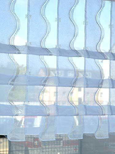 Verdi Cliprollo Scheibengardine Welle lang grau beige Höhe 140cm | Breite der Gardine frei wählbar in 15,5cm Schritten | Gardine | Panneaux (Höhe 140cm)