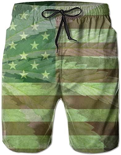 Troncos de natación Pantalones Cortos de Playa de Verano Pantalones Cortos con Bolsillos para Hombres, jóvenes, niños, Marihuana, Marihuana, Bandera Estadounidense
