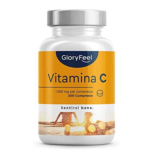 Vitamina C 1000mg ad Alto Dosaggio, 200 Compresse Vegan (6 mesi), Integratore Vitamina C Pura, Supporto delle Difese Immunitarie, Senza Lattosio, Senza Glutine