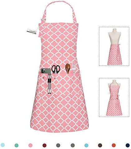 LessMo Bib Apron Cooking Aprons for Women Men Adjustable Neck strap with 3 Pockets 100 Cotton product image