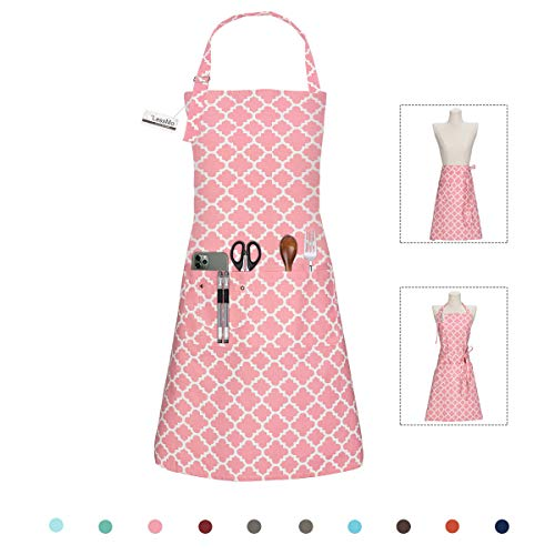 LessMo Kitchen Cooking Aprons with 3 Pockets for Men Women - Cotton Adjustable Professional Grade Chef Apron for Kitchen, BBQ & Grill (Pink)