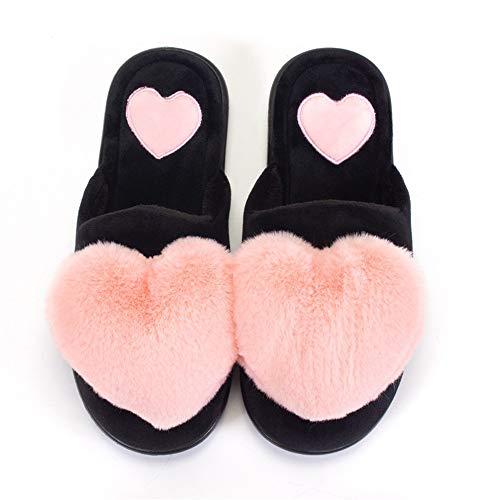 Mujer ¡Comodidad Zapatillas Invierno,Rojo amor zapatillas de boda antideslizantes interiores antideslizantes de...