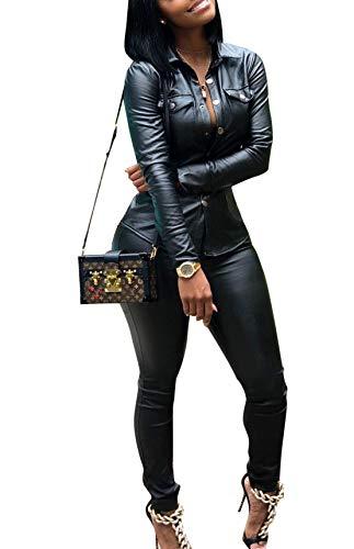 ksotutm Women 2 Piece Outfits Button Pocket Lapel Jacket Top and High Waist Leather Pencil Pants Set