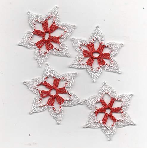 Schneesterne-Weihnachtssterne-8er Set-zweifarbig-rot/weiß