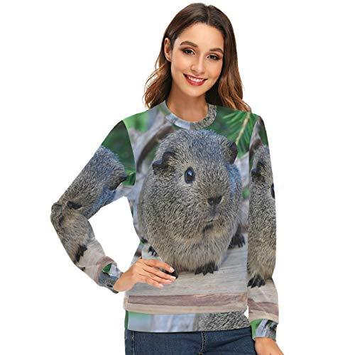 LUPINZ Süßes Meerschweinchen-Sweatshirt für Damen mit Rundhalsausschnitt, Fleece Gr. X-Large, 1