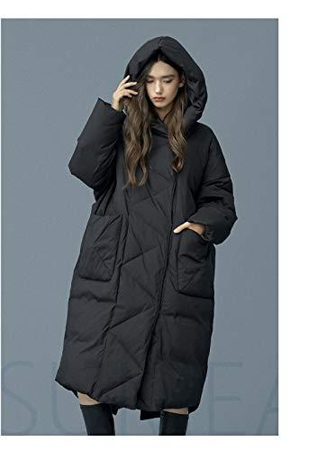 WJVCZ Winter Daunenmantel Oversize Warm Duck Damen Daunenjacke Hooded Cocoon Style Dicke warme Parkas, Schwarz, L