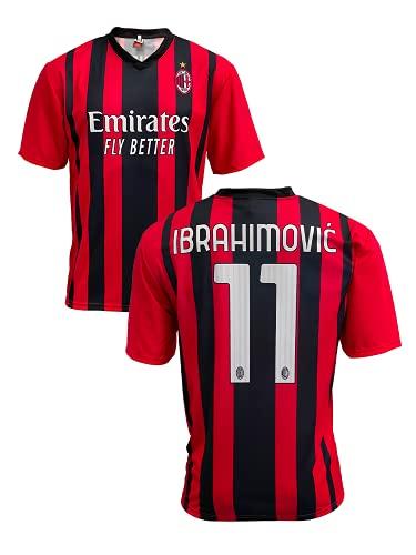 Maglia Milan Home 2021 2022 Replica Ufficiale Rosso, Nero (Taglia 2 4 6 8 10 12 Anni Bambino Ragazzo) (Taglia S M L XL XXL Adulto) Zlatan Ibrahimovic 11 (Medium)