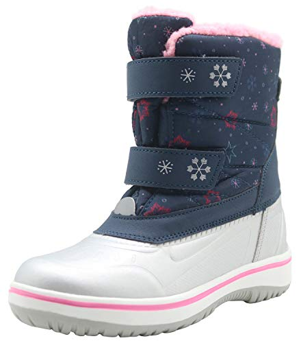 Apakowa Kids Boys Girls Insulated Snow Boots Waterproof Winter Cold Weather Shoes (Color : Blue05, Size : 8 M US Toddler)