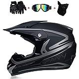 XIUYU Máscara Adulto Motocicleta Off-Road Casco MX Todoterreno Camión Vespa Beach Alquiler Casco D.O.T Certificado Rockstar Gafas Guante (S, M, L, XL) (Color : Black, Size : L)