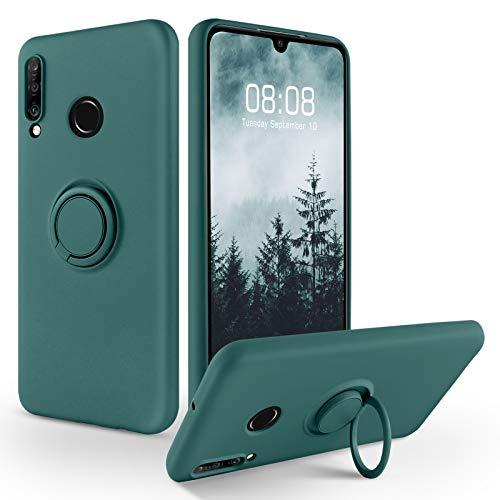 SouliGo Huawei P30 Lite Hülle, Huawei P30 Lite Handyhülle Silikon Gel Slim Case Cover mit Ring Halter Ständer stabil Kratzfest Hülle für Huawei P30 Lite/Huawei P30 Lite New Edition Grün