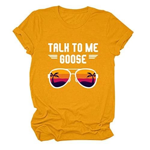 Talk to Me Goose Letter Print Gafas de sol Graphic Top Tee Causal Camiseta para mujer