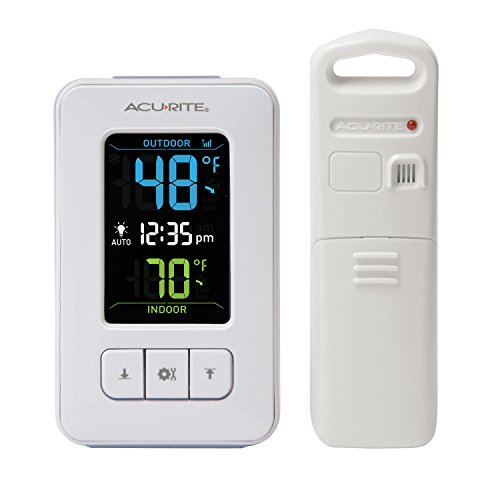 AcuRite 02028 Color Digital Thermometer with Indoor/Outdoor Temperature,White