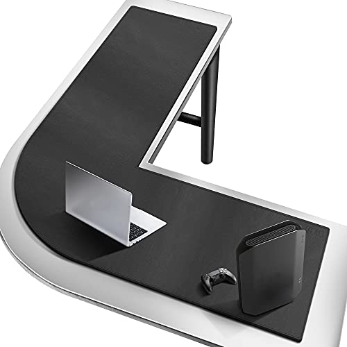 Cacoy Almohadilla de escritorio en forma de L, alfombrilla de escritorio de piel sintética, alfombrilla de ratón para juegos impermeable para el hogar y la oficina (negro)