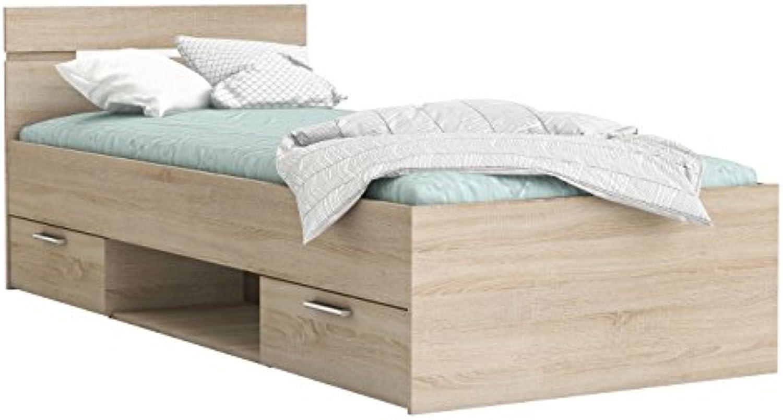 Funktionsbett 90  200 cm Sonoma Eiche mit 2 Roll-Bettksten Jugendzimmer Kinderzimmer Kinderbett Jugendbett Jugendliege Bettliege Bett