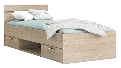 Funktionsbett Rocky 90 * 200 cm Sonoma Eiche mit 2 Roll-Bettkästen Jugendzimmer Kinderzimmer Kinderbett Jugendbett Jugendliege Bettliege