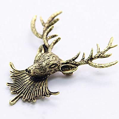 3 FOR 2 Sale! Gold Stag Deer Broach Pin for Jacket or Collar, Unique Gift Luxury Accessories Animal Fashion