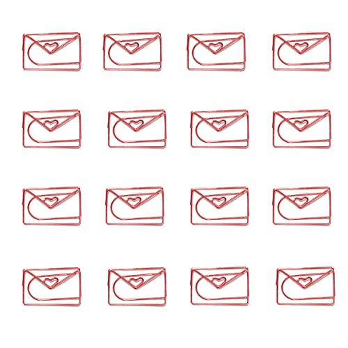 ペーパークリップ かわいい しおり 金属 オフィス文具 アルバムクリップ ペーパークリップホルダー 16個 (封筒)