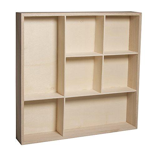 Rayher Hobby 62612000 Holz-Setzkasten, 26 x 26 x 4 cm, 7 Abteilungen