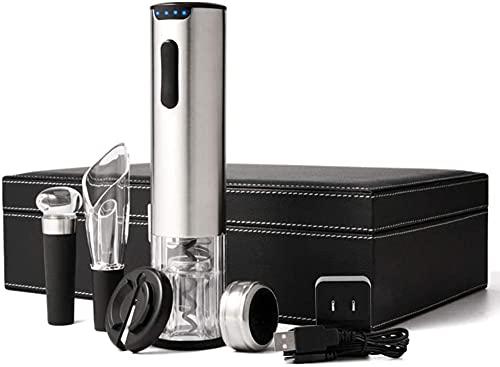 Sacacorchos eléctrico, carga USB, acero inoxidable, abrebotellas automático, indicador de batería, juego de regalo