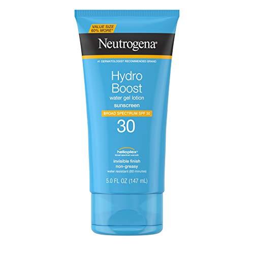Neutrogena Hydro Boost Water Gel Non-Greasy Moisturizing Sunscreen Lotion with Broad Spectrum SPF 30, Water-Resistant Hydrating Sunscreen Lotion, 5 fl. Oz