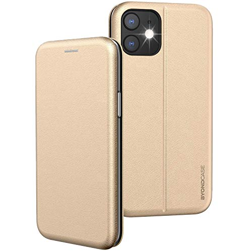 BYONDCASE iPhone 11 Flip-Hülle Hülle [Deluxe Leder Klapphülle] Handyhülle mit Einer 360 Grad Fullbody R&umschutz-Funktion in Gold Ultra Slim Fliptasche kompatibel mit dem iPhone 11