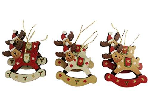 Conjunto de 6Pequeño balancín renos árbol de Navidad decoraciones