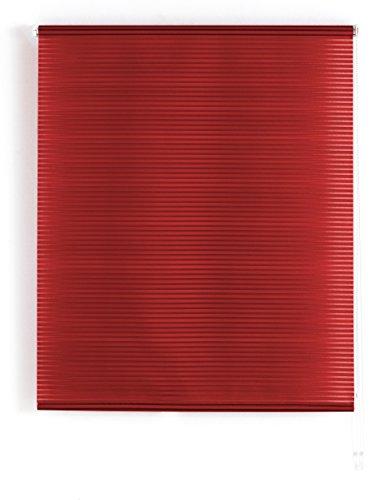 Blindecor Iris Estor Enrollable Translucido Rayado, Tela, Burdeos, 120 X 180 cm