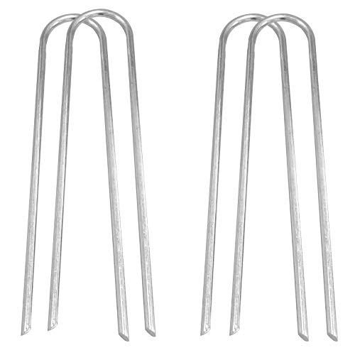Abimars Anclajes para trampolín, anclajes para portería de fútbol, 30,5 cm, 8 mm, acero galvanizado resistente, anclajes en U, estacas para tienda de campaña