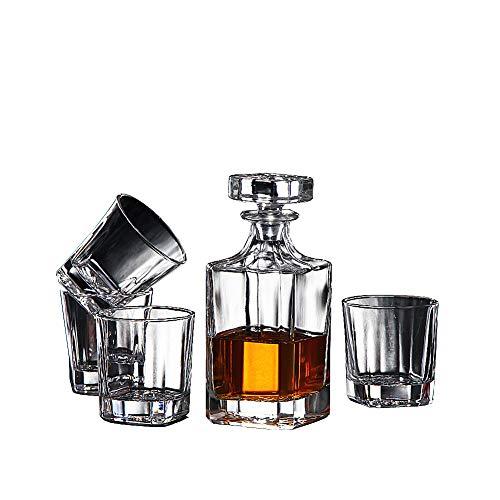 HOUSHIYU-521 5 Piezas Whisky Licorera Y Vaso Conjunto, Sin Plomo Cristal Licorera con 4 Vasos De Whisky, para Licor, Escocés, Borbón, Vino, Vodka