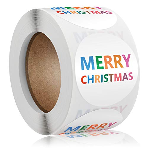 Dongpong Merry Christmas Stickers Labels Roll 1.5 Inch Round Multi-Colored Christmas Tags 500 Adhesive Xmas Decorative Envelope Seals Stickers for Cards Gift Envelopes Boxes