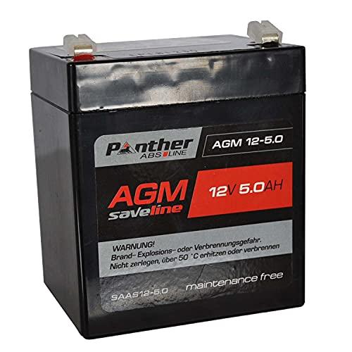 Panther Industriebatterie wartungsfrei 12 V 5 AH - AGM Batterie für E-Start Rasenmäher Elektrowerkzeuge [ABS-saveline] Blei Gel Akku ventilreguliert