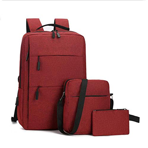 Mochila para portátil de 3 Piezas / Set con Carga USB y Puerto para Auriculares, Negocio antirrobo o portátil para la Escuela / Trabajo / Viajes-Rojo