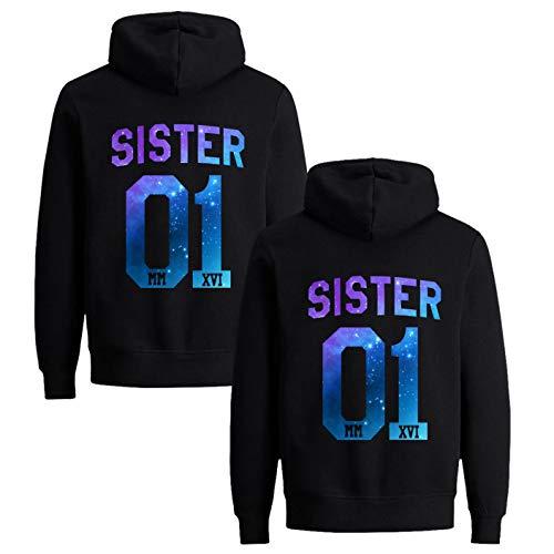 Freunde Pullover für Zwei Mädchen Best Friends Hoodie BFF Pullover Sister Kapuzenpullover Damen Pulli Freundin Geburtstagsgeschenk (Star, M + M)