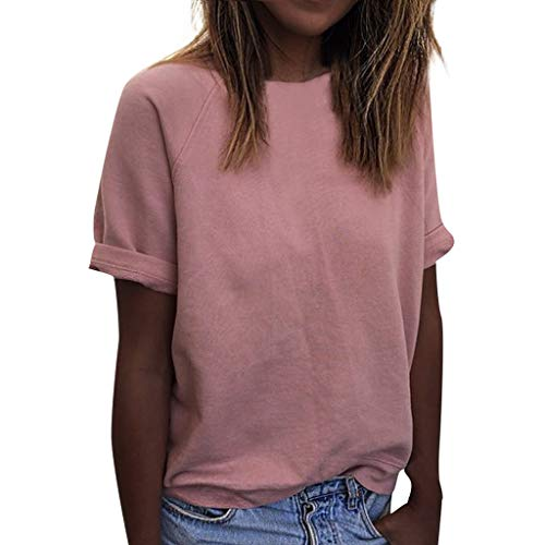 Topkal Top Mujer Verano otoño Casual Blusa Camisa Fashion Casual Casual Algodón Fiesta Oansatz Camisetas Moda Manga Corta Tops Rosa. XL