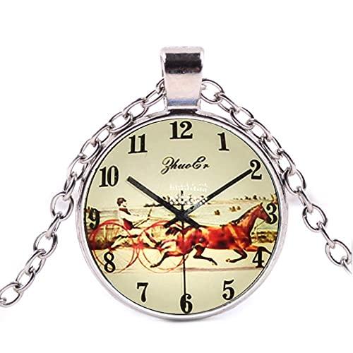 LINANNAN Joyería Vintage Horse Reloj con Encanto Cabochon Plateado Plateado Collar Largo Colgante para Mujeres Regalo