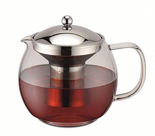 Weis 17055 Teekanne aus Glas und Edelstahl mit Sieb 1,5 Liter