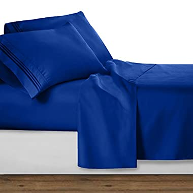 Clara Clark Bed Sheet Set - Brushed Microfiber Premier Collection 1800 Series 4 Piece Bed Set - Wrinkle & Fade Resistant, Hypoallergenic, Queen, Royal Blue
