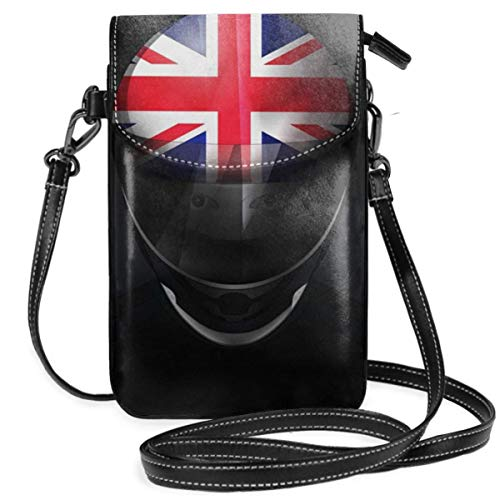 WAUKaaa British Flag Helmet Leather Cell Phone Purse Holder Wallet Functional Multi Pocket for Women