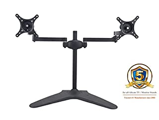 "MMS05 Dual Monitor Arm Stand w/free-standing base for 17""-24"" LCD in Black (B004WOELQE) 