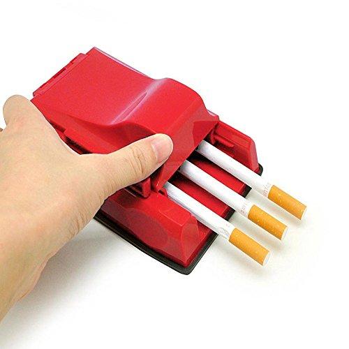 Mooua Zigaretten Stopfmaschine,Zigarettenstopfmaschine Zigarettenstopfer Stopfmaschine Zigaretten Tabakstopfer 3er Stopfer - Praktisches Raucherzubehör - Erspart Zeit und Arbeit (Rot)
