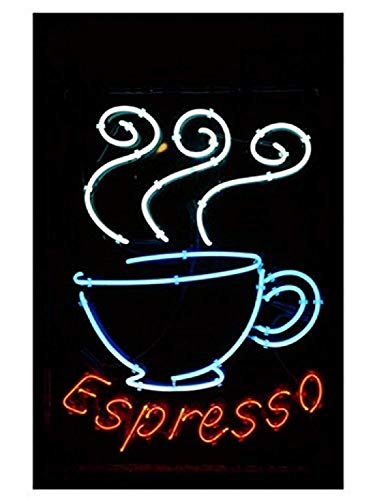 Posterazzi Glowing Neon Sign of an Espresso Coffee Cup Poster Print (8 x 10) (Renewed)