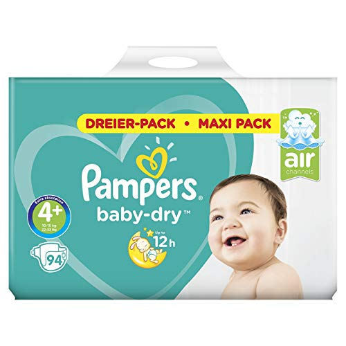 Pampers Baby-Dry Windeln, Gr. 4+, 10kg-15kg, Dreier-Pack (1 x 94 Windeln)