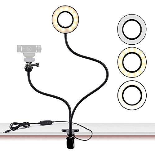 Webcam Lichtständer 360 ° LED Live Stream, Selfie Ring Licht Ring Licht 3 Beleuchtungsmodi, USB-Stromversorgung, Schlauch Erhöhen, Live Stream, Beauty Fill Light
