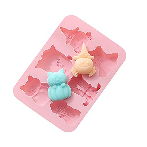 Halloween Silicone Baking Molds,Candy Molds,Chocolate Molds,Gummy Molds,6-Cavity Non-Stick Silicone Molds,DIY Baking Tools,Make Pudding,Ice Cube,Pink (Ghost&Vampire&Pumpkin Monster&Devil's Feet)