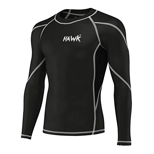 Hawk Sports Mens Compression Shirts Base Layer Athletic Gym MMA BJJ Rash Guard No Gi Full Long Sleeve Rashguard Shirt for Men (Black, X-Large)