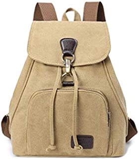 New Retro Tide Girls Outdoor Canvas Backpack Bag Fashion Backpack (Color : Khaki)
