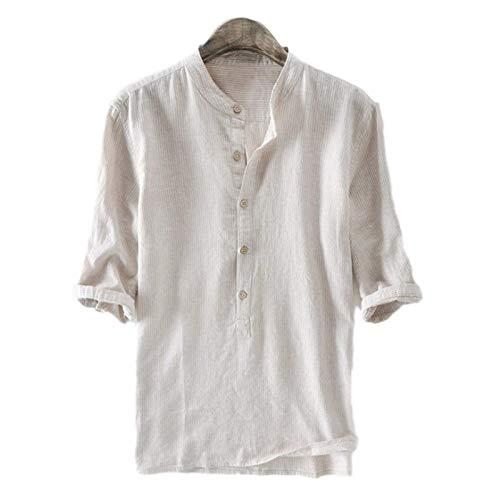 Camicie da Uomo con Colletto alla Coreana Stampa a Righe Blu e Bianche Camicie Larghe a Maniche Lunghe Regular Fit T-Shirt Estiva di qualità X-Large