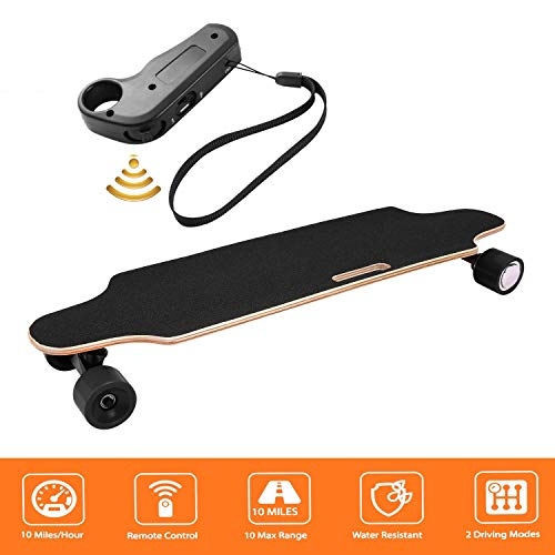shaofu Electric Skateboard Youth Electric Longboard with Wireless Remote Control, 12 MPH Top Speed, 10 Miles Range, 7 Layers Maple Longboard(US Stock) (Black)