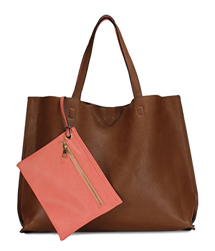 Scarleton Stylish Reversible Tote Handbag for Women, Vegan Leather Shoulder Bag, Hobo bag, Satchel Purse, Brown/Coral Pink, H18420452