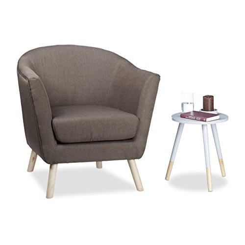 Relaxdays Cocktailsessel Retro, skandinavisches Design, weich, bequem, runder Relaxsessel, HxBxT: 81 x 78 x 70 cm, braun, Standard